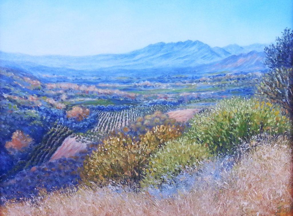 Ventura hillside pastel painting